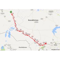 Une portion de 10 km du parcours au Kazakhstan