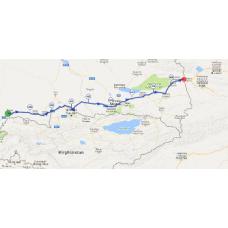 Une portion de 10 km du parcours au sud du Kazakhstan