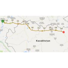 Une portion de 10 km du parcours entre  Russie et Kazakhstan